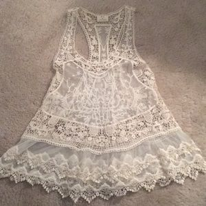 Urban Outfitters White Boho Lace Tank